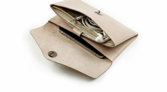 Wallet Handbag Clutch With Two Pockets Cosmetic Bag Pouch Made of Cream