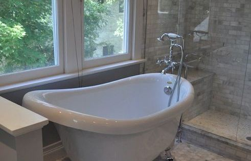 Blank And Baker Beautiful Master Bathroom With Clawfoot Tub And Vintage Style Floor Mount Tub