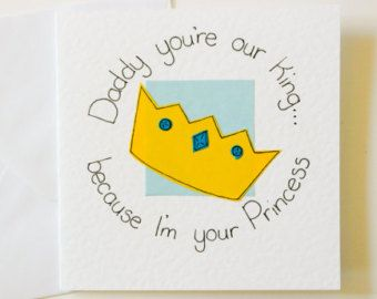Greeting Card Daddy You Re My King Because I M Your Princess Birthday Card Father S Day Card Dad Birthday Card Dad Birthday Gift Dad Cards