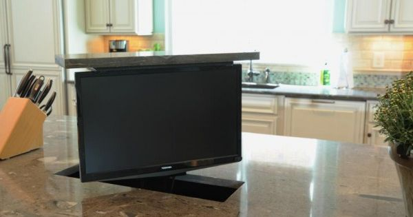 Sleek Hidden Tv In The Kitchen Island Yes Please Small Tv For Kitchen Pinterest Kitchens