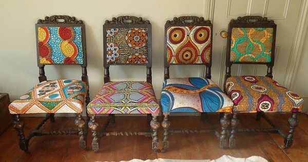 African chair frumpy chairs get a tribal fabric makeover for Funky fabric dining chairs