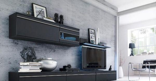 deko ideen wohnzimmerschrank wohnwand magic 2 schwarz matt edelstahl mbiliade deko ideen. Black Bedroom Furniture Sets. Home Design Ideas