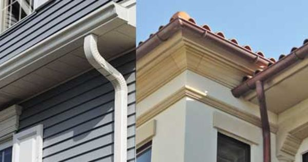 Aluminum Gutters Installed In K Style Profile And Half Round Profile Copper Gutters Installed Pictured Rain Gutters Gutters Rutland