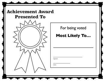 Most Likely To Achievement Award Achievement Awards Superlatives Awards Achievement
