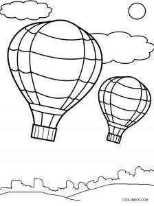 Hot Air Balloon Coloring Page Template