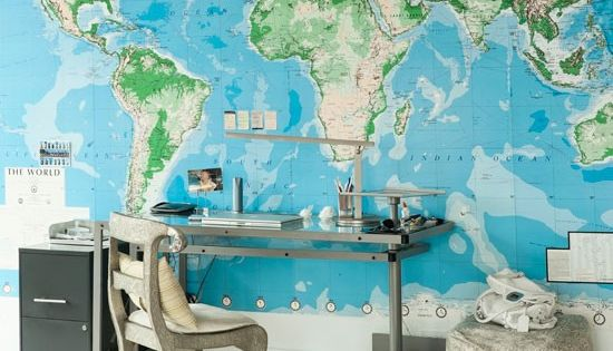 Wall map adds something special to Home Office.