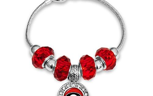 FTH Silver Tone Toggle Bracelet with Alabama Crimson Tide Logo Charm Crystals and Beads