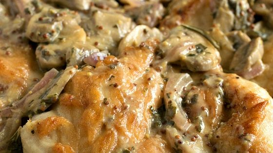 mushroom, chicken with onion dijon sauce