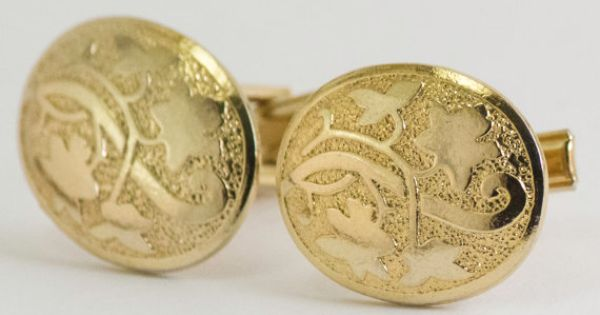 Vintage Cufflinks Organic Vine and Leaves Gold by CuffsandClips