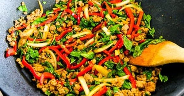 Thai Inspired Ground Turkey Stir Fry With Basil And