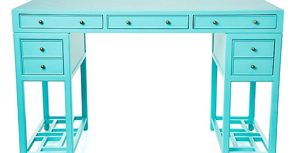 Shanghai desk on refresh your home office with a splash of color in an - Kleine lay outs het oppervlak ...