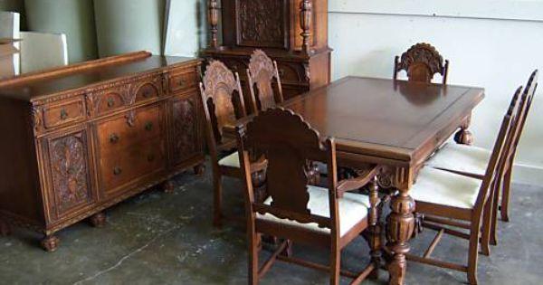 Beautiful Vintage 1930s Jacobean Style Dining Room Set Antique Dining Room Furniture Vintage Dining Table Oak Dining Room Set