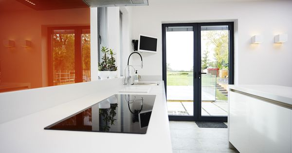 White Kitchen Orange Splashback architectural white kitchen with orange splashbacktrukitchen