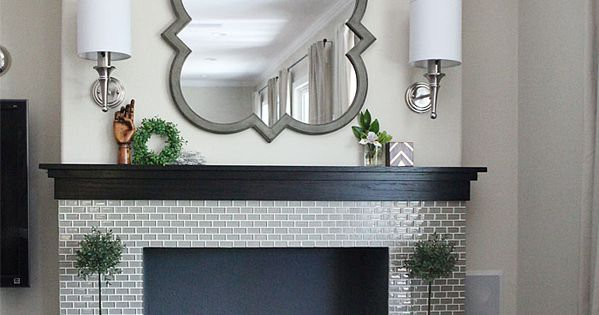 Center Grey Subway Tiles Fireplace Inserts And Fireplaces