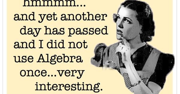 Algebra - vintage retro funny quote