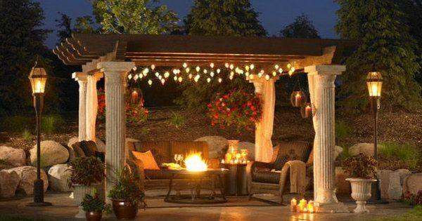 Kamin Garten : Exterior garten pergola ideen beleuchtung laternen kamin terrasse