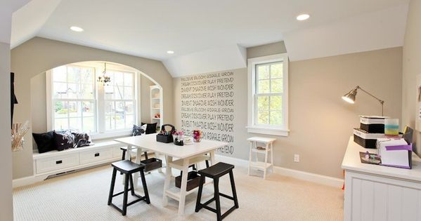 Craft space with walls painted benjamin moore revere for Benjamin moore misty grey