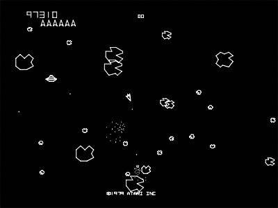 Asteroids Classic Arcade Video Game Screen Shot t-Shirt Atari Classic Asteroids t-Shirts