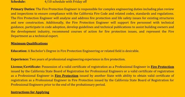 County of Riverside is Looking for a Fire Protection Engineer - fire safety engineer sample resume