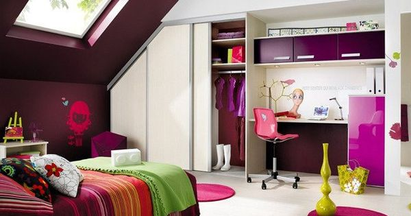 chambre d 39 ado 5 ambiances d di es aux jeunes filles combles aubergines et jeune fille. Black Bedroom Furniture Sets. Home Design Ideas