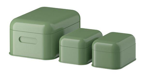 snika l da med lock set om 3 gr n ikea inferno pinterest. Black Bedroom Furniture Sets. Home Design Ideas