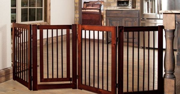 Pet Gate Dog New Folding Walk Thru Wide Wood Baby Safety