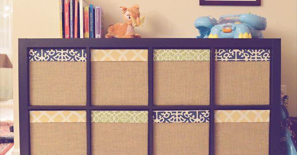 Ikea expedit drona box redone with fabric burlap for for Fabric drawers ikea expedit