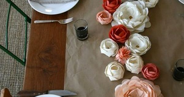 bridal shower table setting, but maybe with a burlap table runner instead