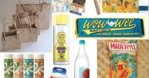 Hawaiian Wedding Gift Baskets : Hawaiian theme gift bag ideas pretty gifts Pinterest Wedding ...