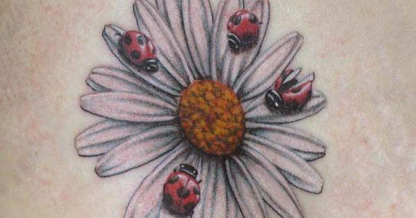 Realistic Small Daisy Flower Tattoos Lady Bug Tattoo Fear Tattoo And Bug Tattoo