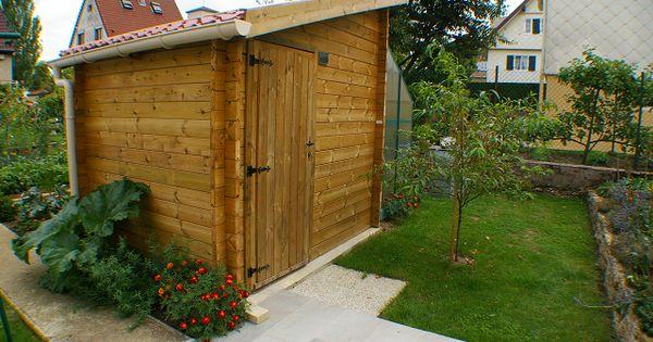 Abri de jardin toit une pente en pin naturel ou trait for Abri jardin sans entretien