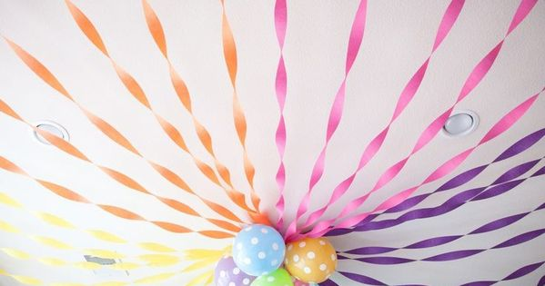 Crepe Paper Roundup Balloon Ceiling Decorations Girl