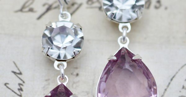 Light Purple Amethyst Clear Crystal Glass Earrings Silver Bridesmaids Earrings Bridal Party