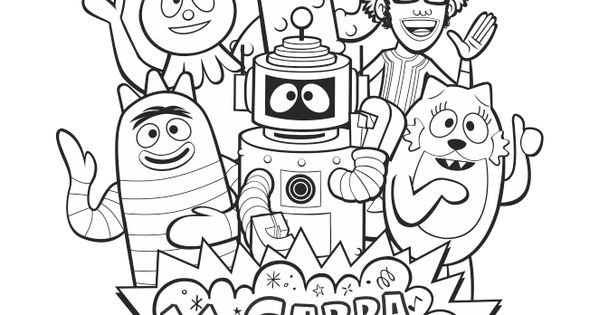 Yogabbagabba group coloring sheet with djlance brobee for Brobee coloring page