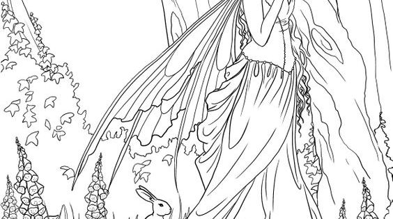 enchanted fairies coloring pages | Fairy. Adult coloring page. source: http://www.amazon.com ...