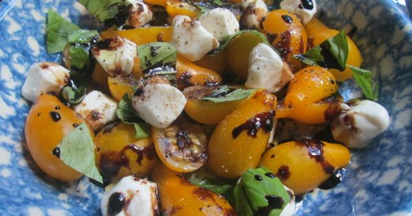 Caprese Salad with Yellow Pear Tomatoes and Bocconcini ...