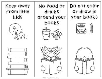 Book Care Rules Coloring Page And Bookmarks Free Book Care Library Lessons Just Right Books