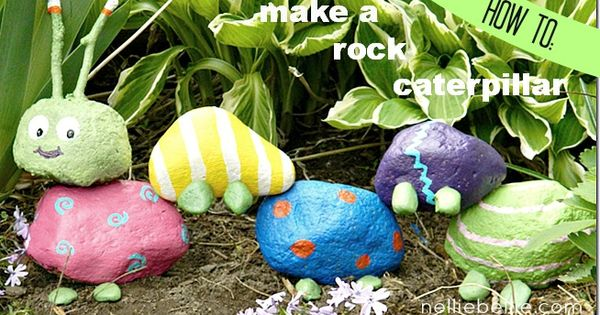 A garden rock caterpillar. A fun project for kids (or me...)
