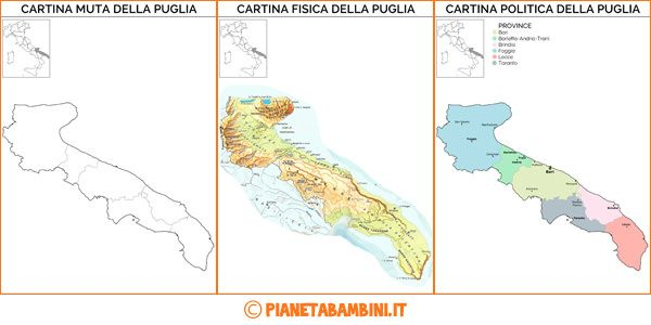 Cartina Calabria E Puglia.Cartina Muta Fisica E Politica Della Puglia Da Stampare
