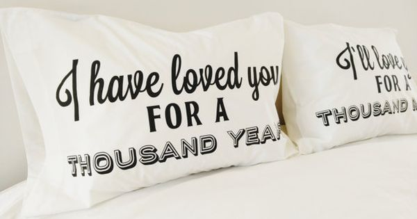 Cotton Anniversary Gift A Thousand Years Christina Perri 2nd Anniversary Gift Idea Couples Pillowcases Christmas Gift Valentines Day Gift
