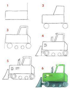 Como Dibujar Una Excavadora En 2021 Dibujos Sencillos Para Ninos Easy Drawing Tutorial Aprender A Dibujar