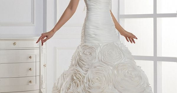 Ball Gown One shoulder Chapel Train Satin Wedding Dresses with Handmade Flower