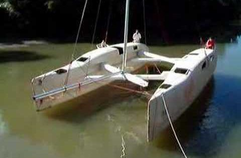 This thing is awesome. A trailerable and folding catamaran ...