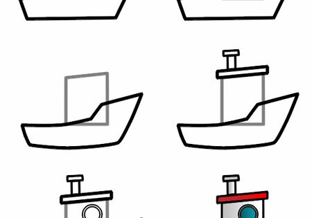 how to draw a cartoon boat step 3       how
