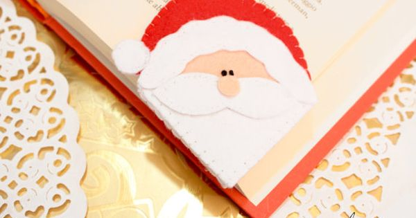 Handmade Felt Santa Claus Corner Bookmark Christmas