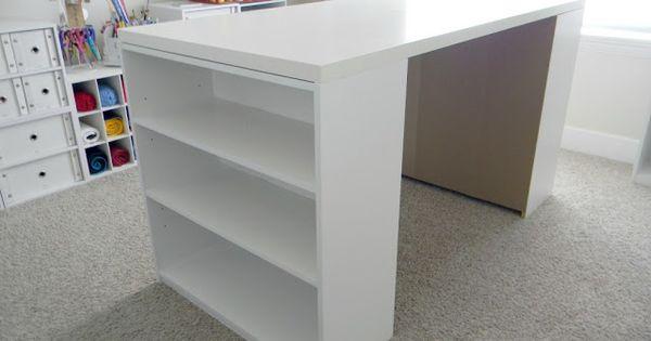 DIY Desk; two $15 Walmart bookshelves and sheet of cabinet grade plywood.