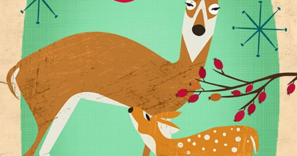 Christmas card with deer | midcentury Christmas| Modern Christmas| retro Christmas |