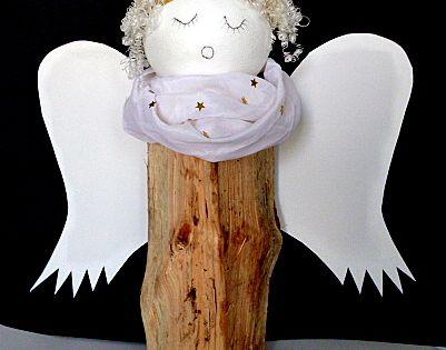 weihnachten basteln engel holz fluegel styroporkugel stoffrest weihnachten pinterest. Black Bedroom Furniture Sets. Home Design Ideas