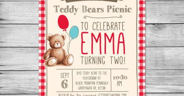Gingham Teddy Bears Picnic Birthday Invitation // by Pixelpopshop $6.50