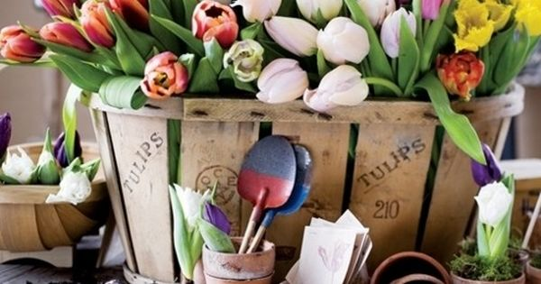 Abundance. tulips easter centerpiece flowers basket tub